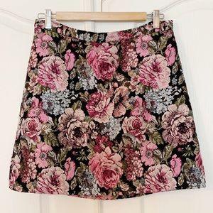 H&M Floral Jacquard Mini Skirt Sz 10